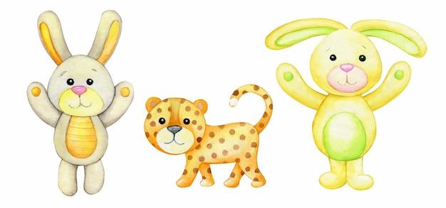 Leopard, hase, kaninchen. aquarell-set von tieren.
