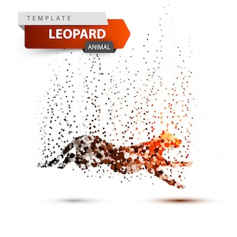 Leopard im sprung - punktabbildung. vektor env 10
