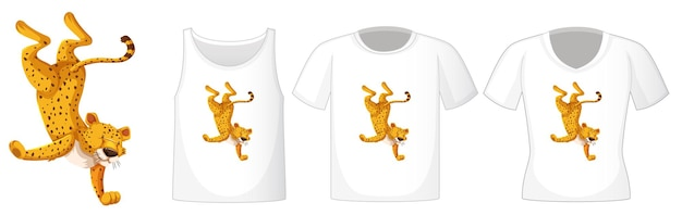 Leopard in der tanzenden position zeichentrickfigur mit vielen arten von hemden auf weißem hintergrund
