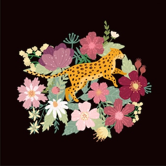 Leopard in schwarz. leopard umgeben von schönen blumen. eleganter sommervektor.
