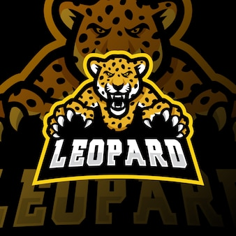 Leopard maskottchen logo esport gaming illustration