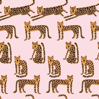 Leopard nahtloses muster wildes tier leopardendruckkarikatur lustig gepard