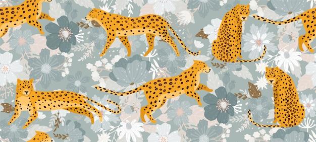 Leoparden umgeben von schönen blumen.