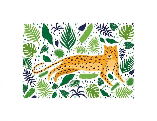 Leoparden, umgeben von tropischen palmblättern