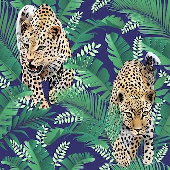 Leoparden und palmblätter tropisch