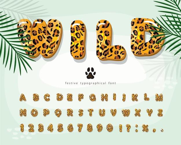 Leopardenfellkarikaturschrift Premium Vektoren