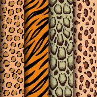 Leopardenflecken, tigerstreifen, bewölkte leopardenflecken und jaguarflecken