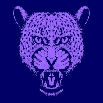 Leopardengesichtsillustration für tätowierung