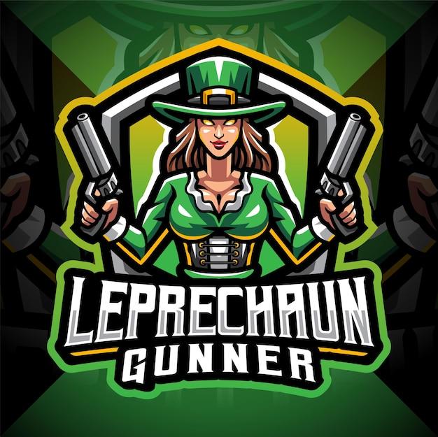 Leprechaun gunner girls esport maskottchen logo