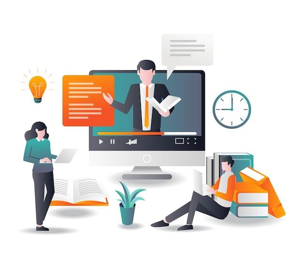 Lern- und onlinekurse mit tutorials im flat design