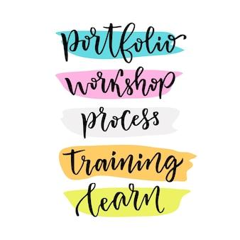 Lernbeschriftung für blog-icons. portfolio, workshop, prozess, training, lernen