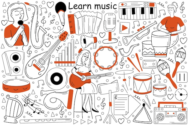 Lerne musik-doodle-set