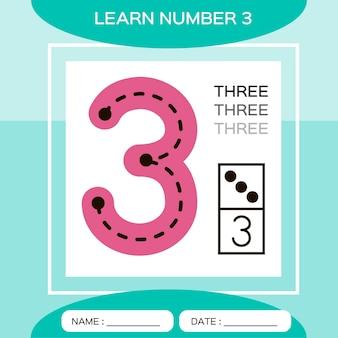 Lerne nummer 3. drei. lernspiel für kinder. spiel zählen.