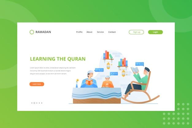Lernen der koranillustration für das ramadan-konzept auf der landing page