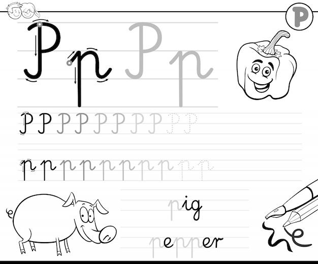Lernen sie, brief p-arbeitsbuch für kinder zu schreiben