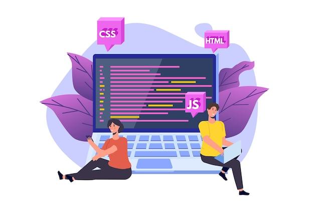 Lernen sie das codierungskonzept. e-learning online. illustration