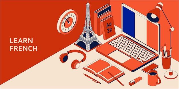 Lernen sie das französische isometrische konzept mit offenem laptop, büchern, kopfhörern und kaffee