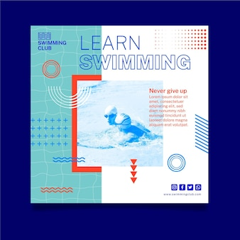 Lernen sie das schwimmen im quadrat flyer vorlage Premium Vektoren