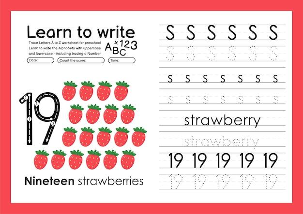 Lernen sie, ein arbeitsblatt zur alphabetverfolgung zu schreiben und zahlen mit s erdbeere zu verfolgen