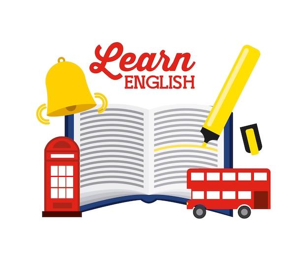 Lernen sie englisch design, grafik der vektorillustration eps10