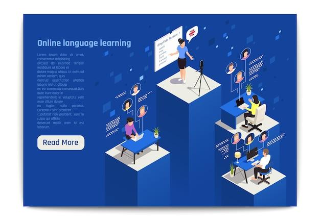 Lernen sie fremdsprache in der isometrischen illustration der zielseite eines virtuellen klassenzimmers