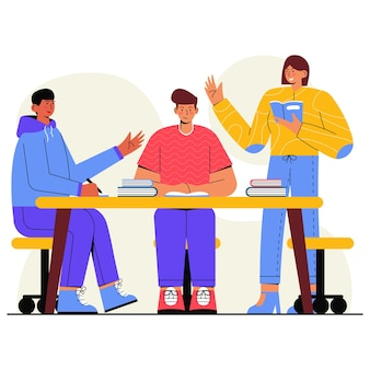 Lerngruppe freunde flache illustration