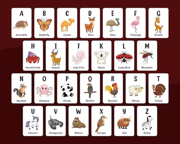 Lernkarten mit tieralphabet