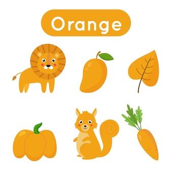 Lernkarten zum lernen und üben von farben. objekte in orange farbe. druckmaterial für kinder.