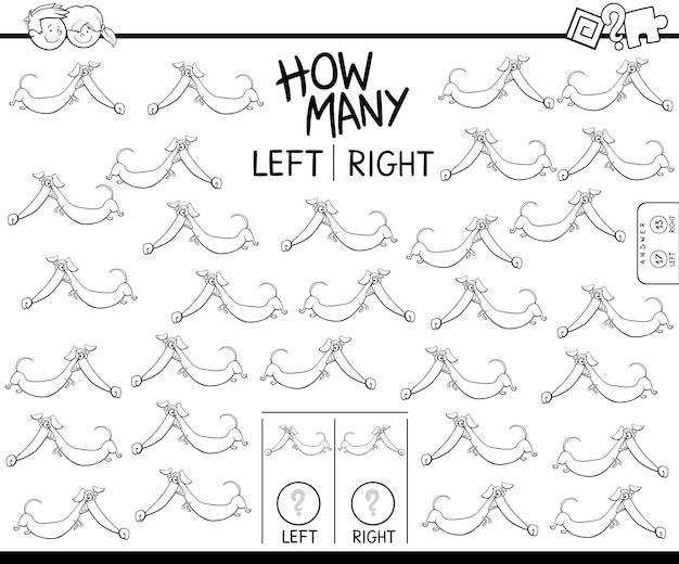 Lernspiel des zählens von linken und rechten bildern