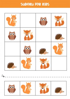 Lernspiel für kinder. sudoku mit waldtieren.