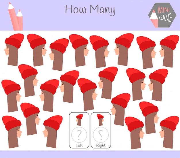 Lernspiel zum zählen von links und rechts orientierten bildern für kinder mit mädchen