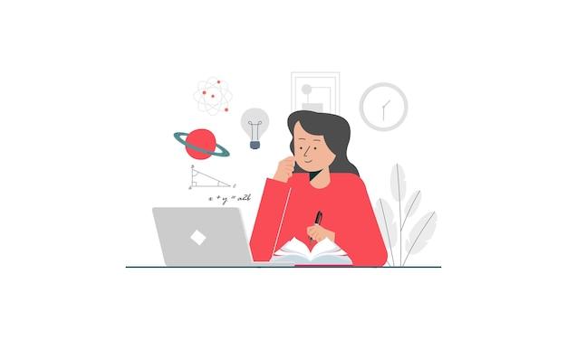 Lernstudie online-konzept illustration