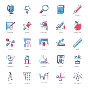 Lernwerkzeuge icon vectors pack