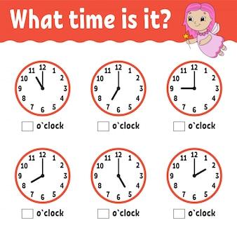 Lernzeit auf der uhr. arbeitsblatt für bildungsaktivitäten für kinder und kleinkinder.