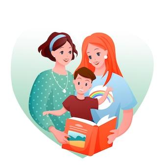 Lesbenfamilie. karikatur glücklich liebende zwei mutter mit kinderjungen, die buch zusammen lesen