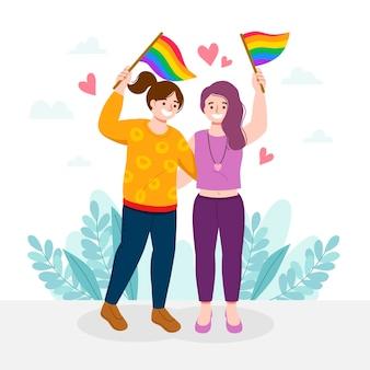 Lesbenpaar mit abgebildeter lgbt-flagge