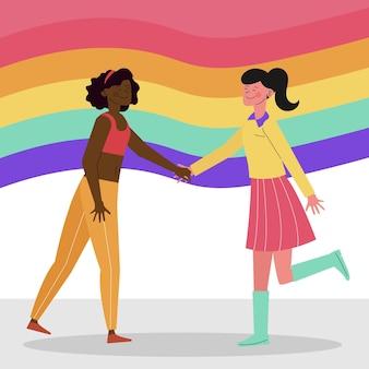 Lesbenpaar mit lgbt flagge dargestellt