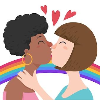 Lesbischer kuss im flachen design illustriert