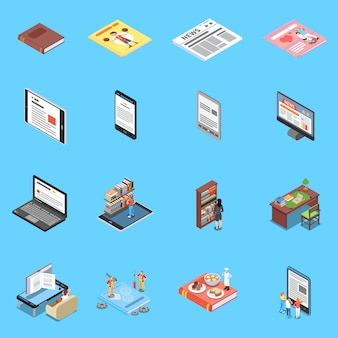 Lese- und bibliothekssymbole, die mit modernen technologie-symbolen isometrisch isoliert eingestellt werden
