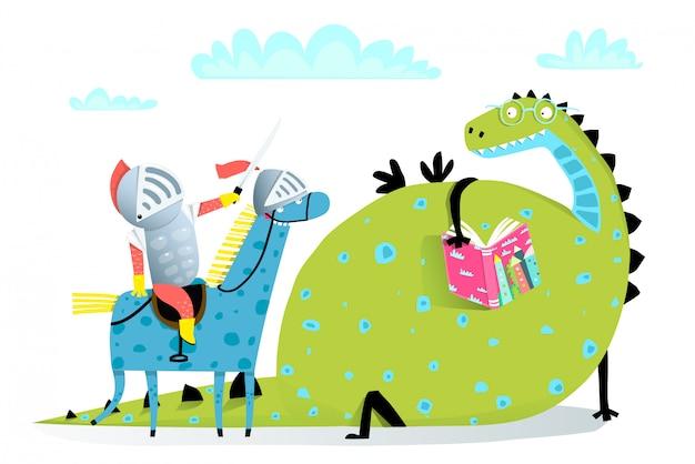 Lesebuch drache und ritter auf pferdeangriff