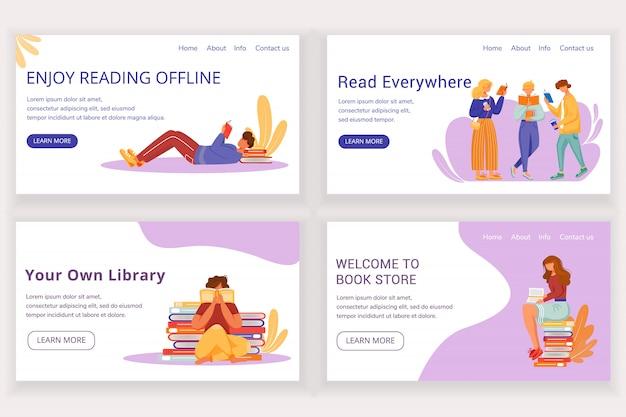 Lesebuch landing page template set. offline-buchhandlungs-website-schnittstellenidee mit abbildungen. layout der homepage der bibliothek. scharfes leser-web, webseiten-cartoon-konzept