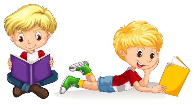 Lesebuch mit zwei jungen