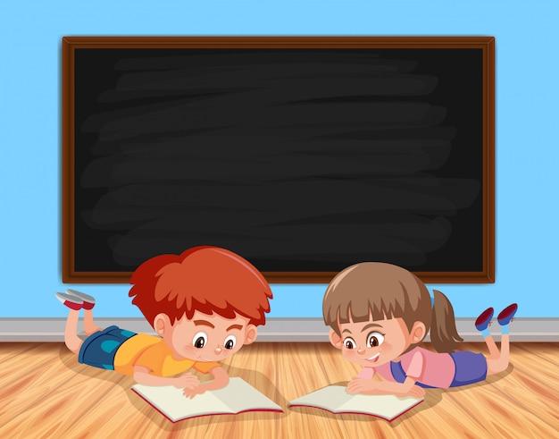 Lesebuch mit zwei kindern im klassenzimmer