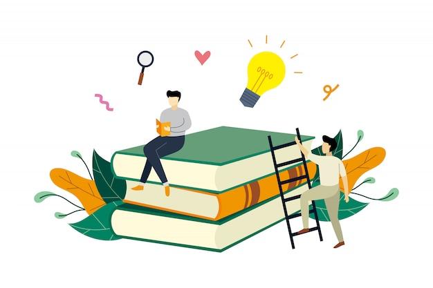 Lesebuch, studium, ideen, bildung mit kleinen leuten