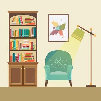 Leseecke mit sessel und stehlampe