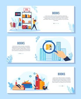Lesen bücher vektor-illustration set, cartoon banner sammlung mit buchliebhaber winzige menschen auf lehrbuch sitzen, kaufen bilderbücher