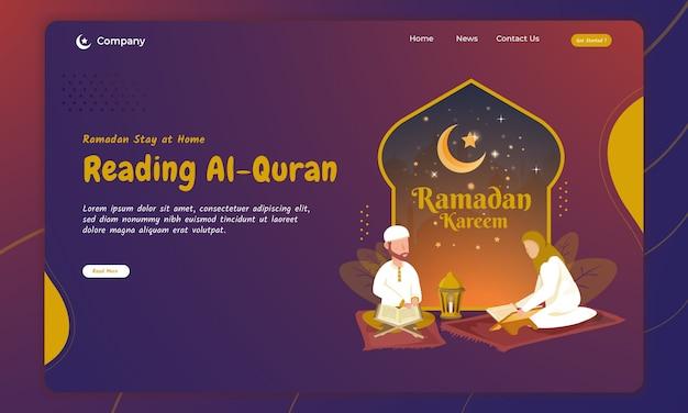 Lesen der heiligen koranillustration für das ramadan-konzept auf der landing page
