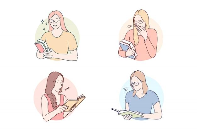 Lesen des gesetzten konzeptes des interessanten oder langweiligen buches