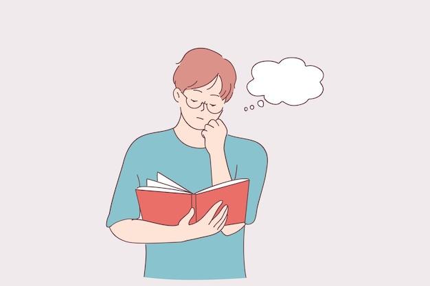 Lesen, konzentration, hobbykonzept. porträt der zeichentrickfigur des jungen serösen mannes, die mit buch in den händen steht und mit vielen gedanken im kopf liest, das kinn berührt