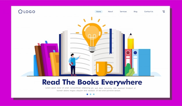 Lesen sie die bücher überall landing page illustration
